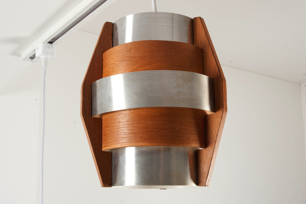 Teak and chrome ceiling lamp