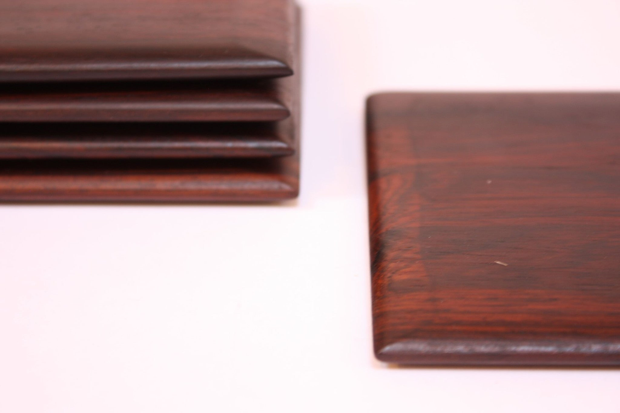 Set of six rosewood coasters