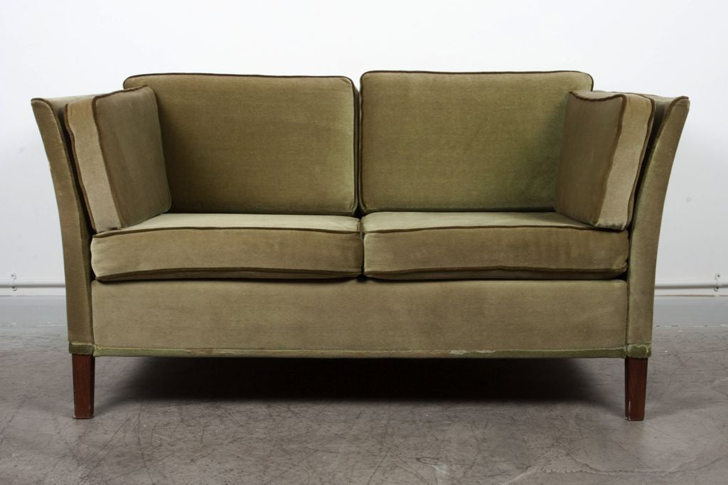 Two seat London sofa in velour
