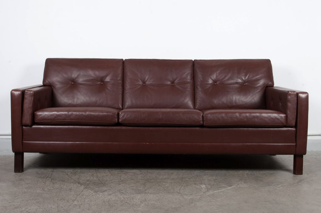 1970s three seater in dark brown leather