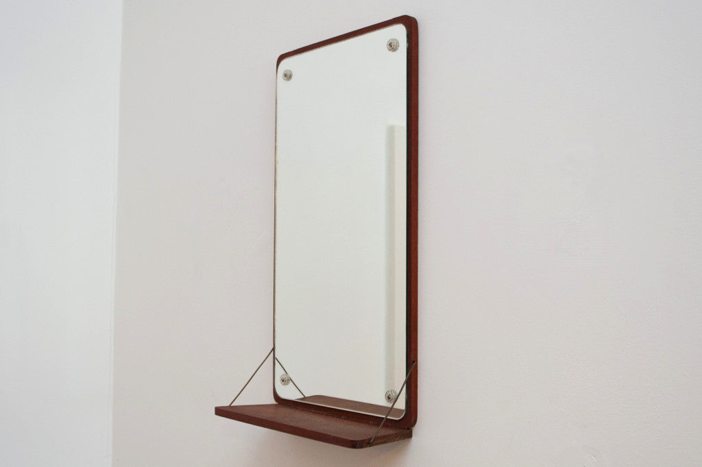 Mirror on teak base with shelf