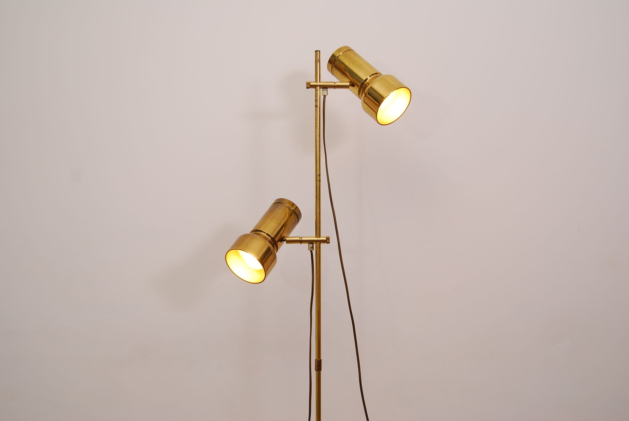 Twin-headed brass floor lamp