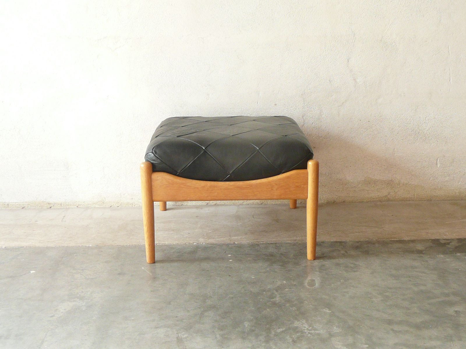 New price: Oak and leather footstool