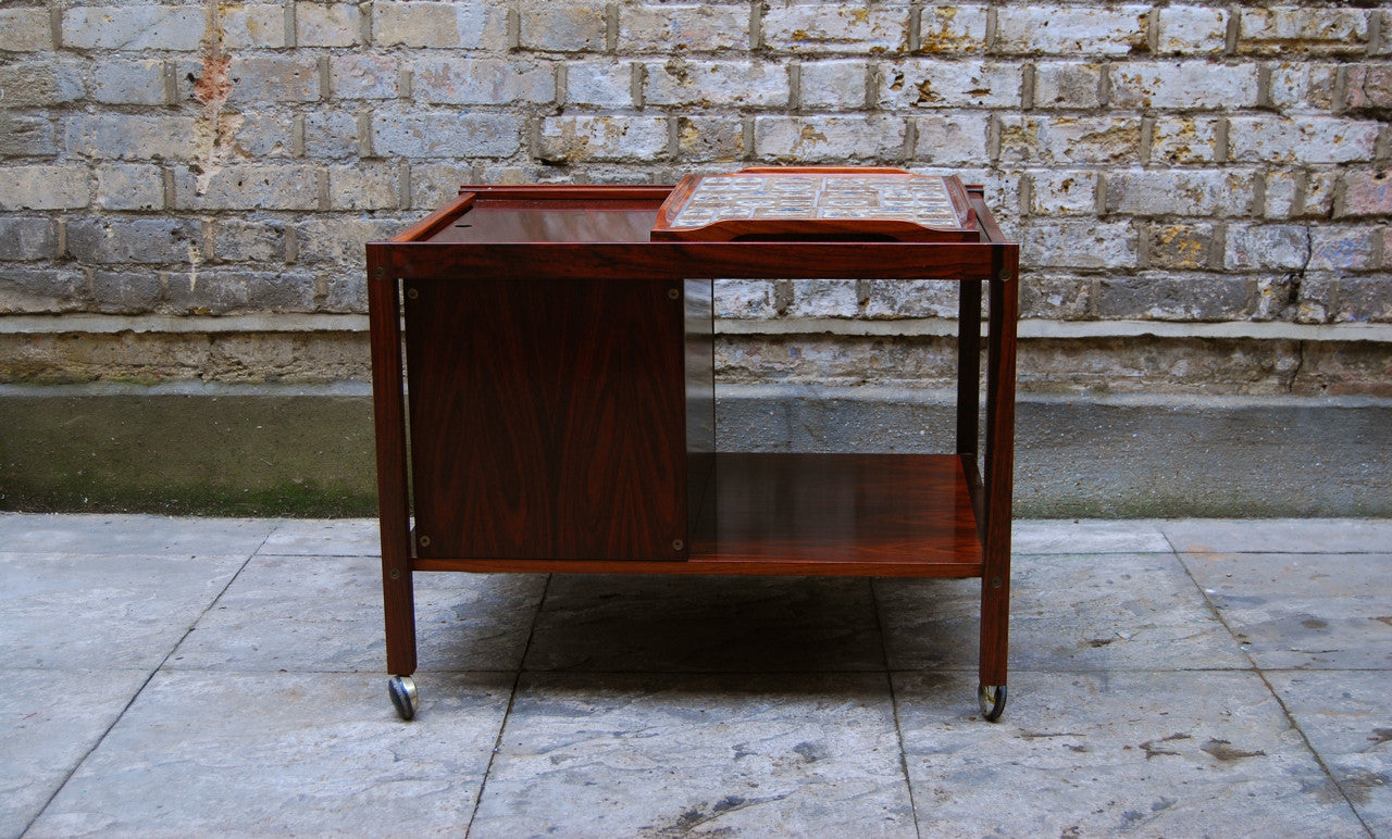 Rosewood bar trolley by Haslev