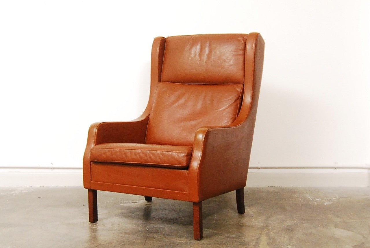 High back leather lounge chair