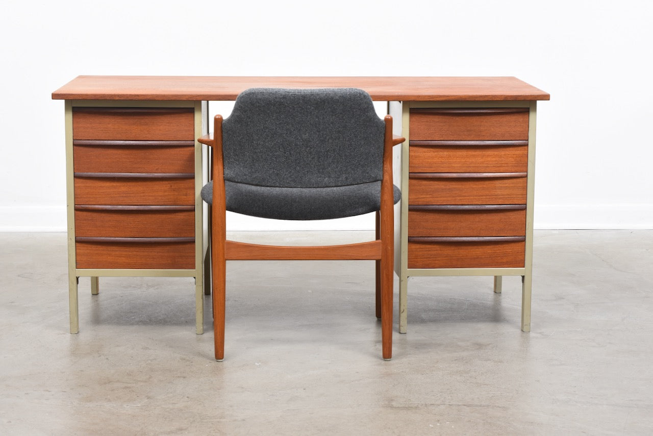 1950s Swedish twin pedestal desk