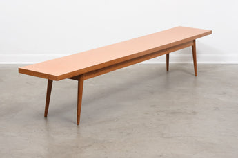 Long vintage bench in teak + oak