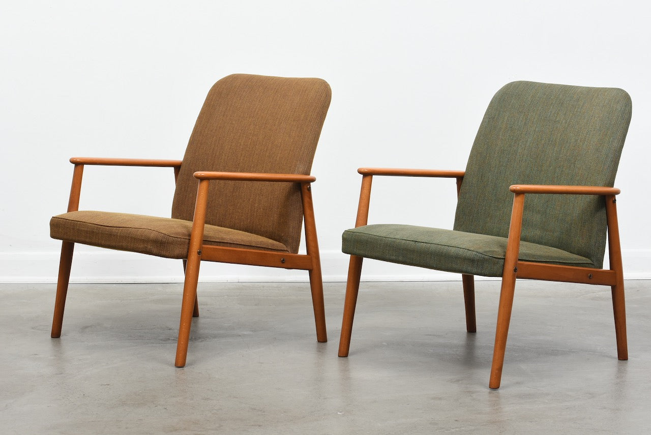 Two available: 1950s beech lounge chairs