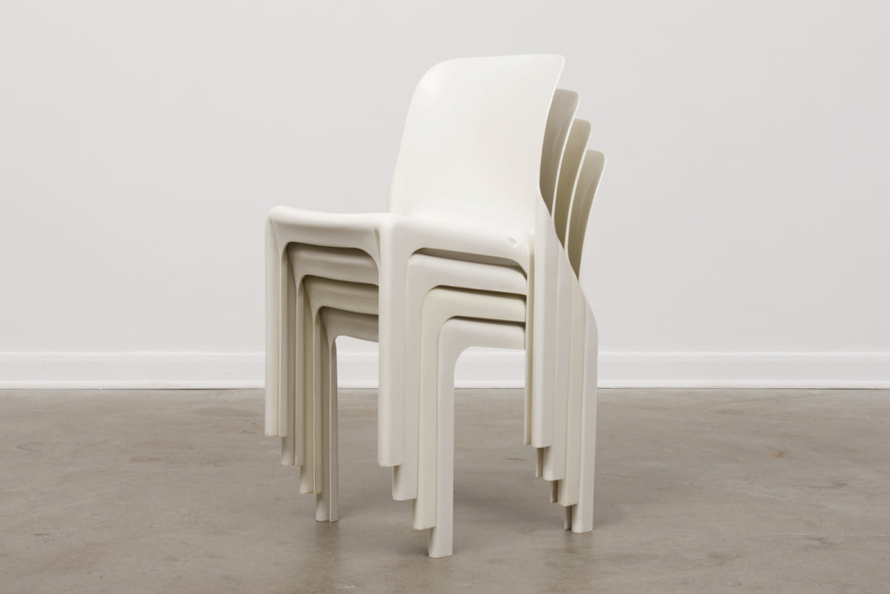 Set of four Selene chairs by Vico Magistretti