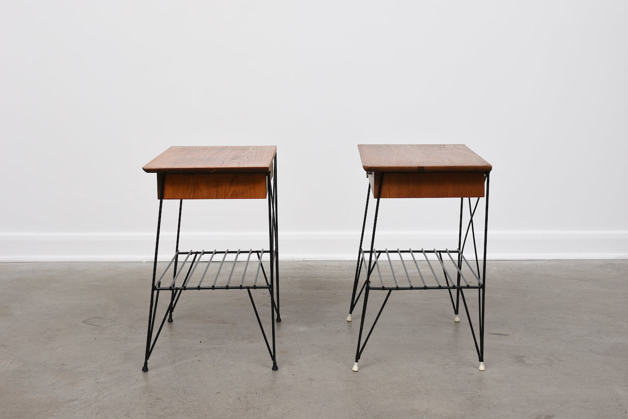 Pair of 1950s teak + wire bedside tables