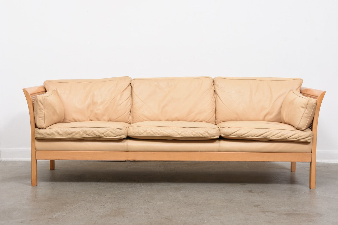 1960s leather + cane sofa by Arne Norell