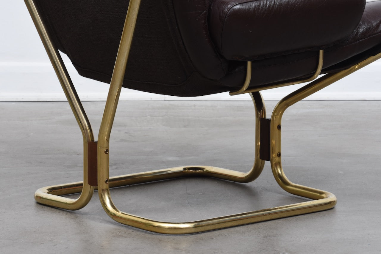 Leather and brass lounger by Harald Relling