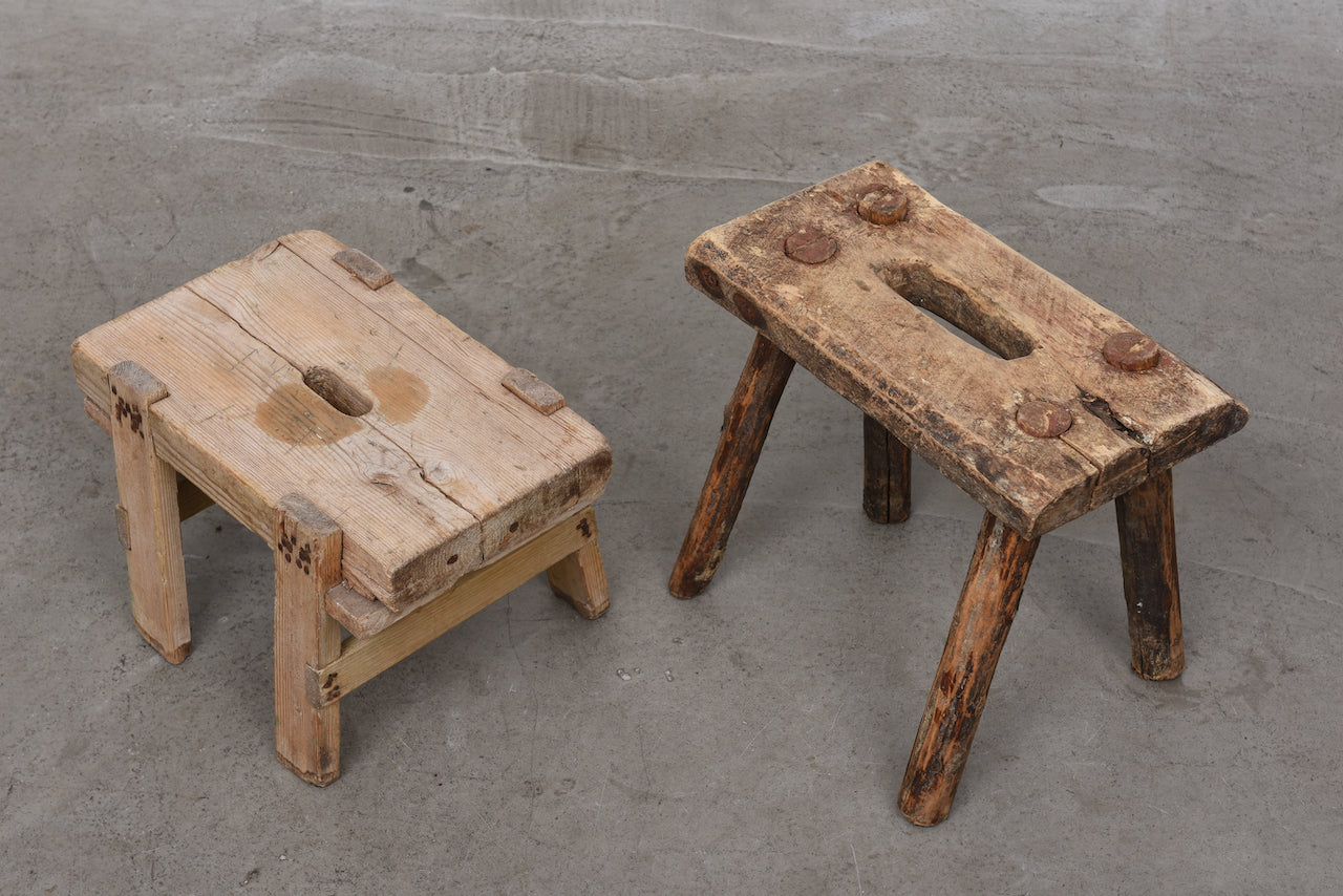19th century Swedish milking stools selection #3