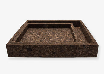 Set of two black cork trays (Square) by Low Key