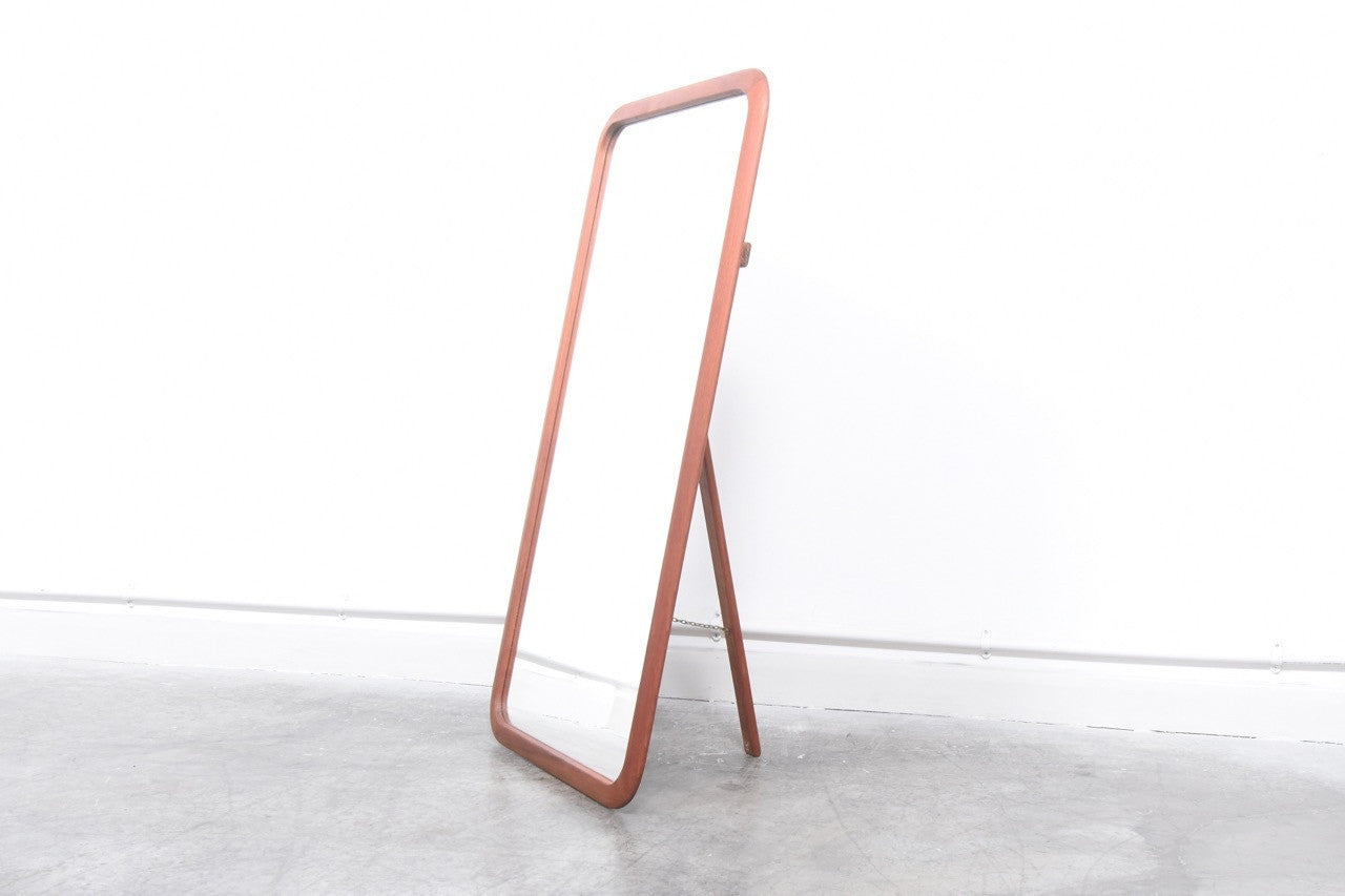 Freestanding teak mirror