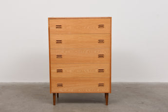 1970s oak chest of five drawers