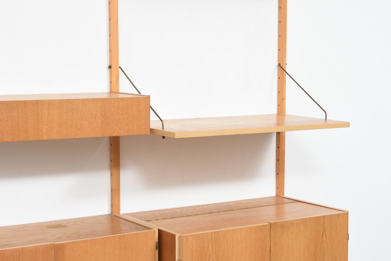 Two bays of PS shelving in oak