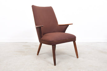 Easy chair in wool with teak arms