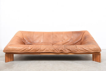 1970s leather and pine sofa