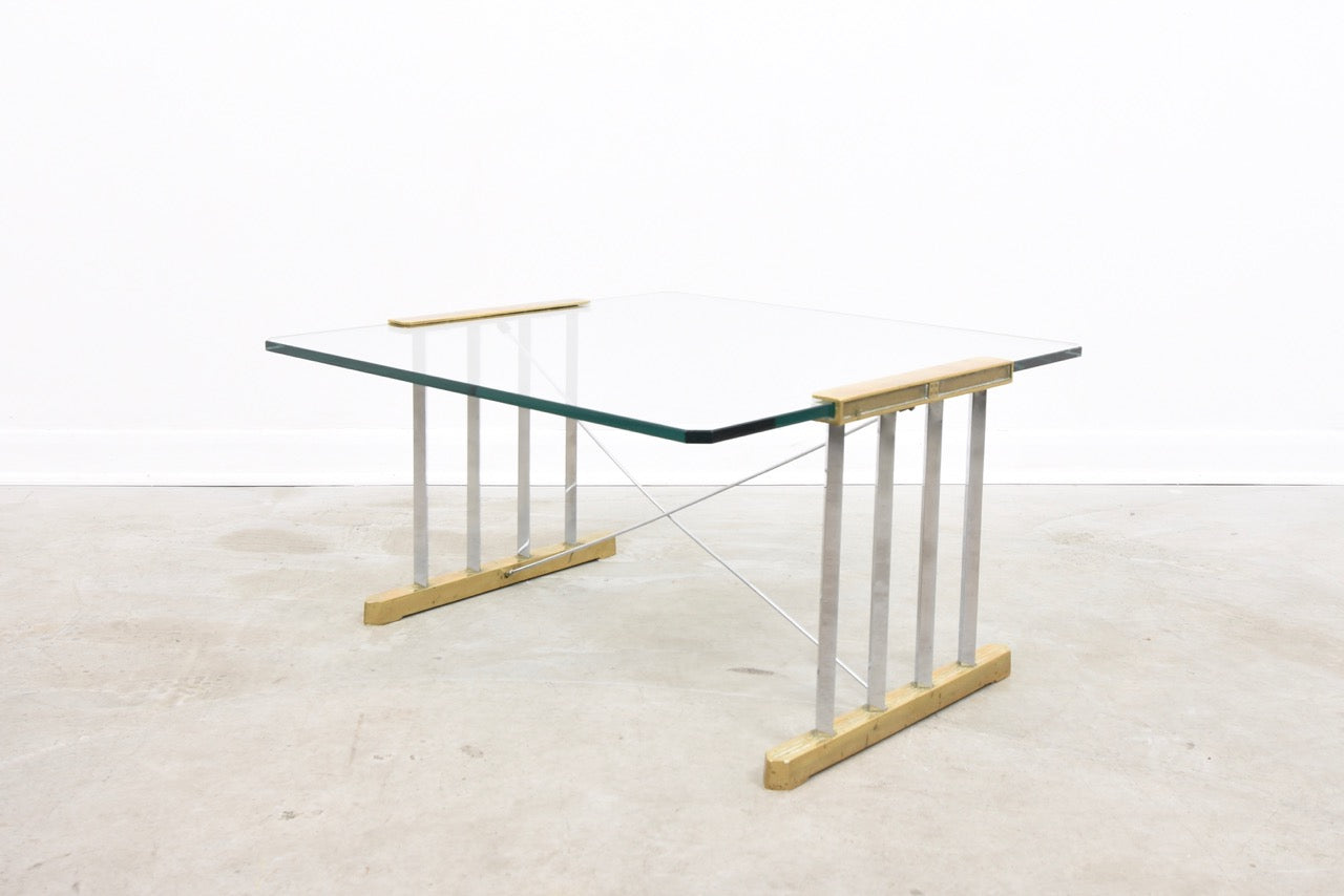 Glass + brass coffee table by Peter Ghyczy