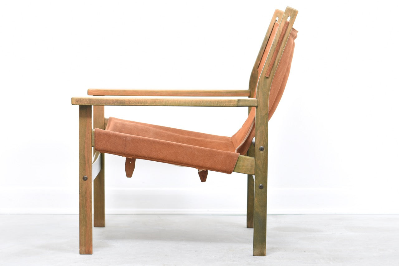 Beech + suede sling chair