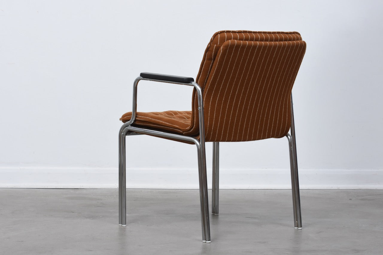Two available: 1970s steel + wool armchairs