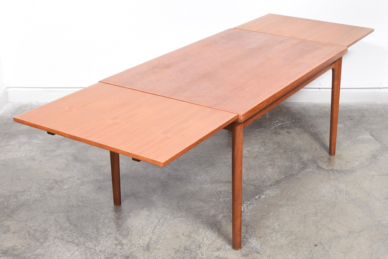 Extending dining table in teak by Skovmand Andersen