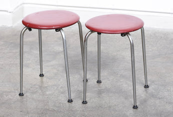 Two available: 1950s steel + vinyl stacking stools