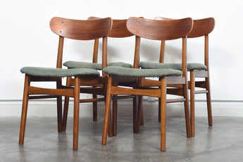 Set of four teak + beech dining chairs