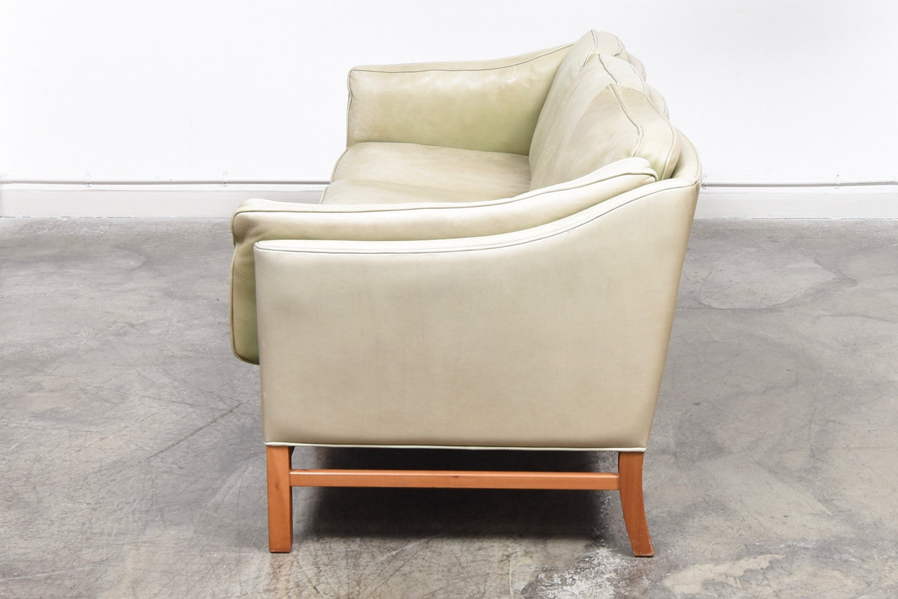StentebjergJuly17 Three seat leather sofa by Grant Møbler