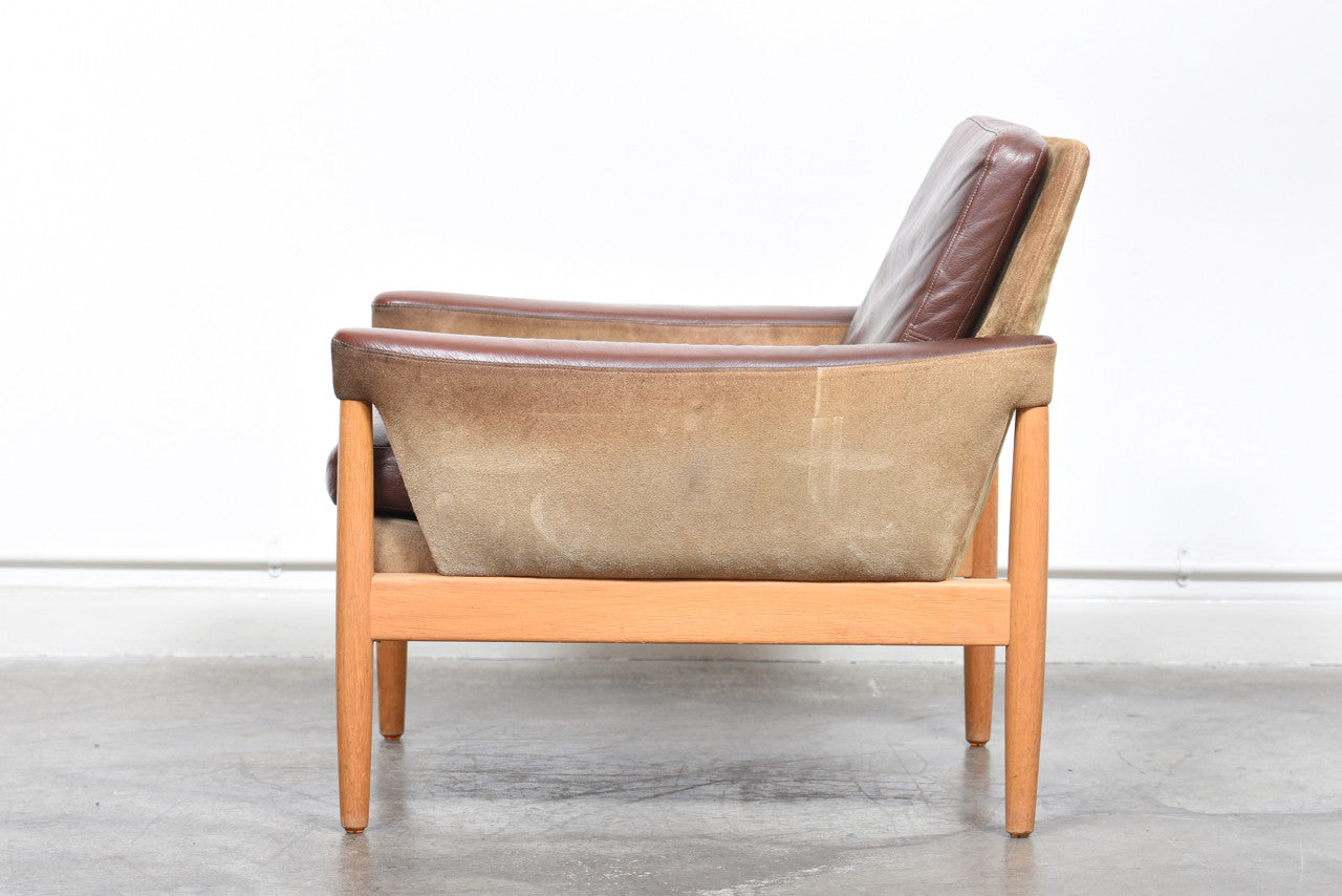 StentebjergJuly17 Two available: Suede, leather + oak loungers by Kurt Østervig