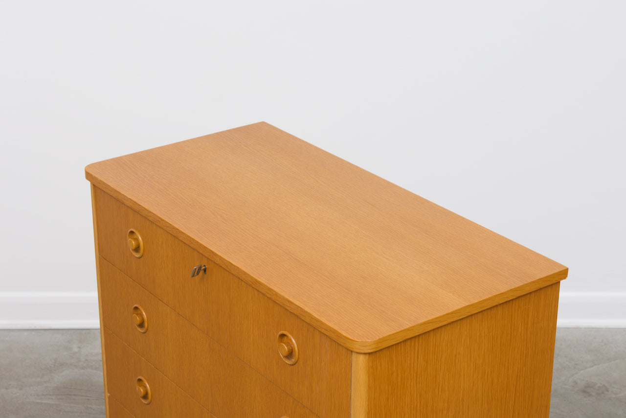 1970s oak chest of drawers on plinth base