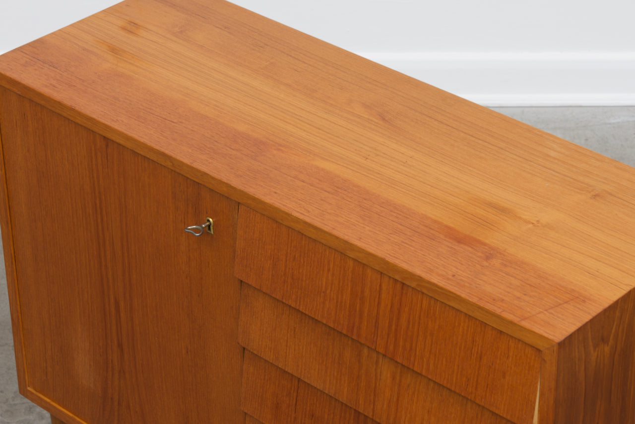 Short teak sideboard with drawers
