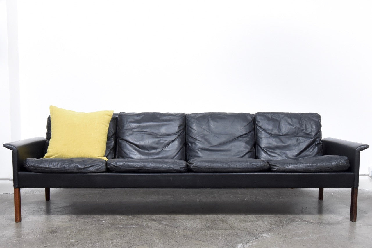 Not specified Four seat leather sofa by Hans Olsen