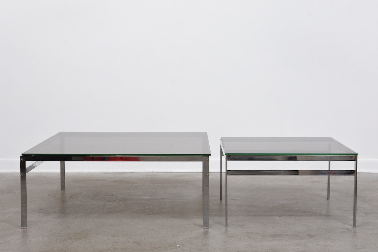 Two sizes available: Vintage smoked glass + chrome tables