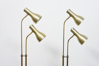 Two available: 1960s twin-headed brass floor lamps