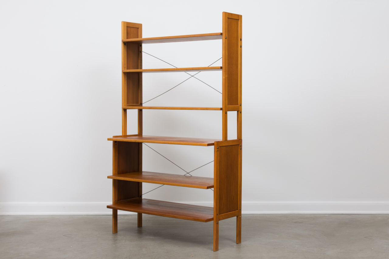 Vintage Swedish shelving unit in teak + beech