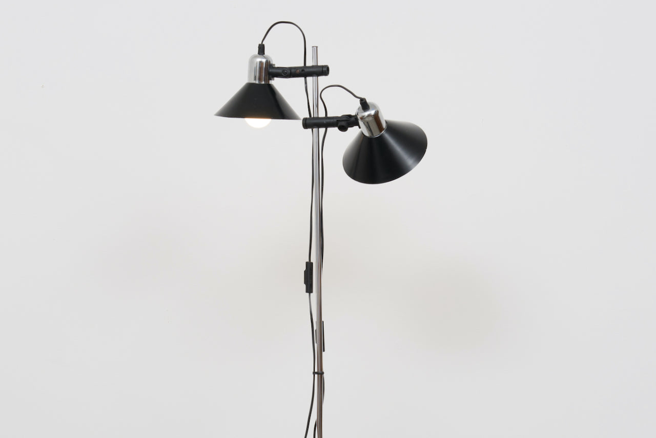 1980s Danish twin-headed floor lamp