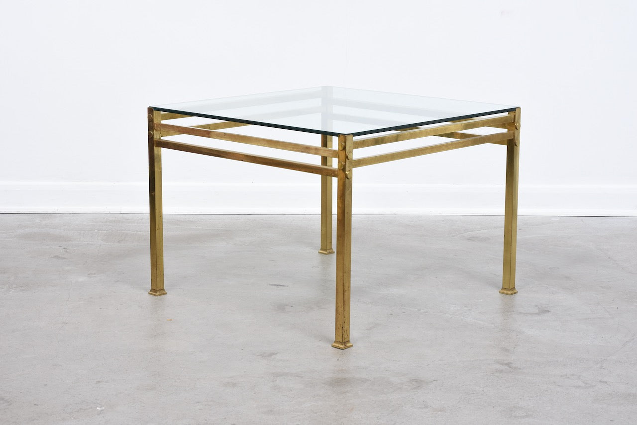 1970s brass + glass coffee table - 70 cm