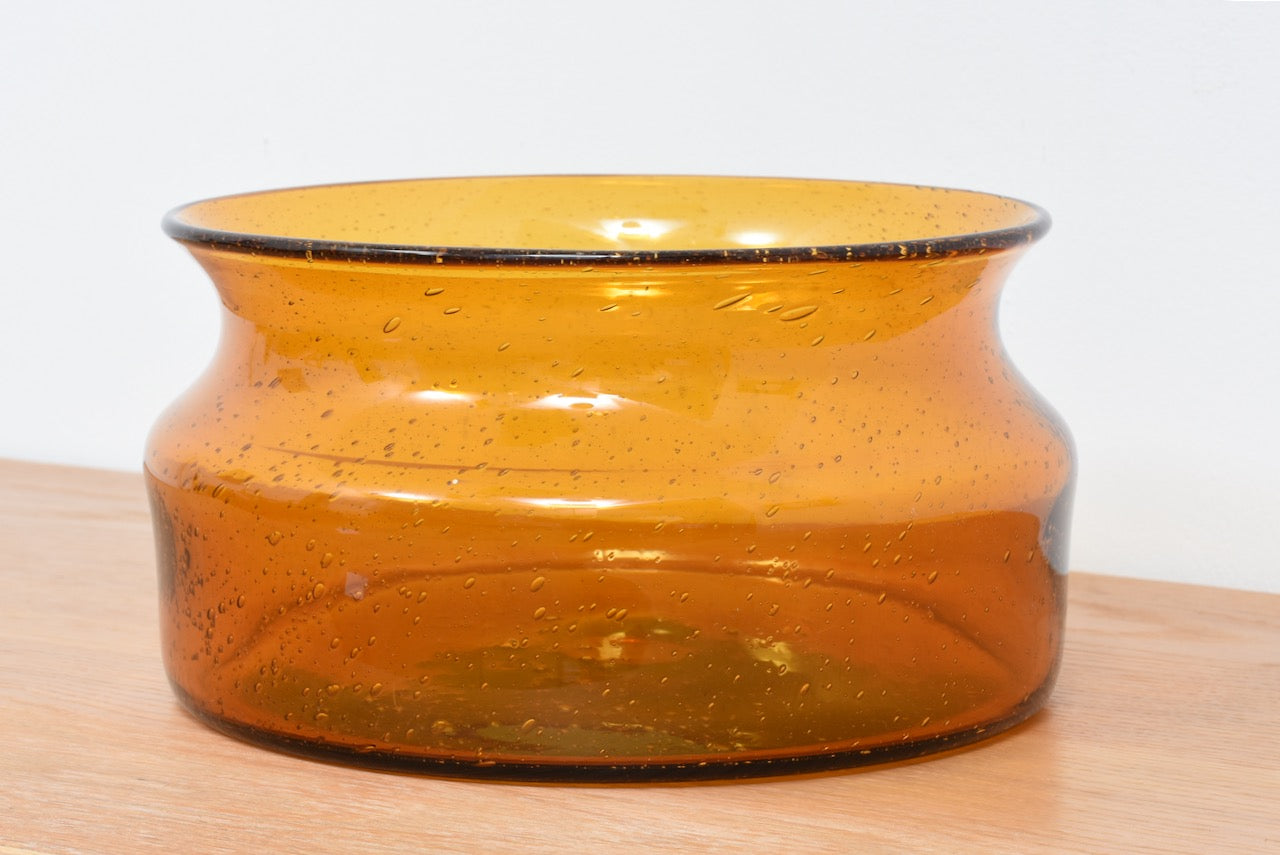 Amber glass fruit bowl by Erik Hoglund