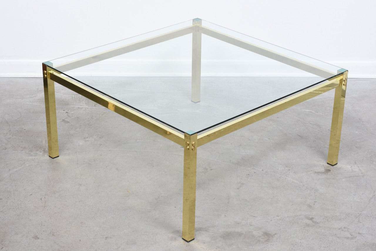 1970s brass + glass coffee table - 105 cm