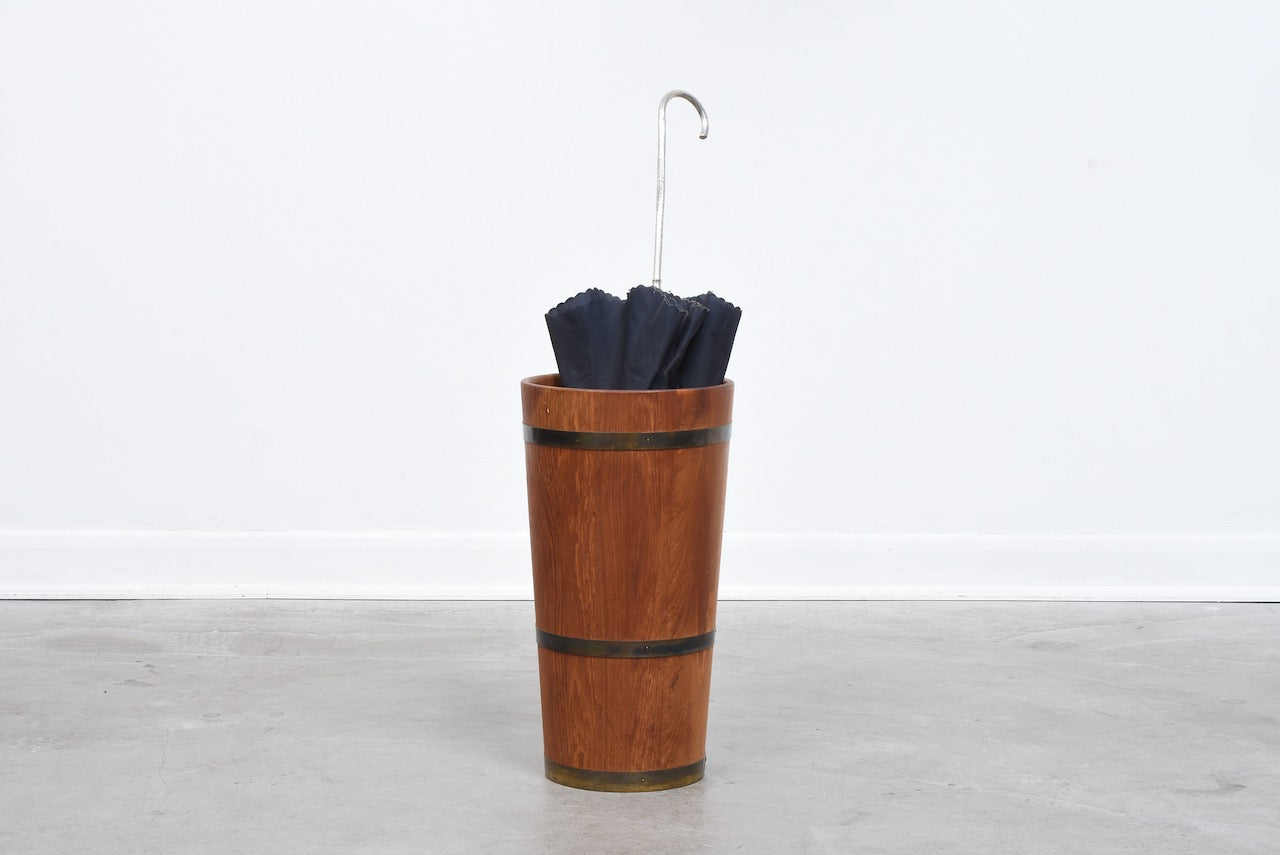 Vintage teak + brass umbrella stand