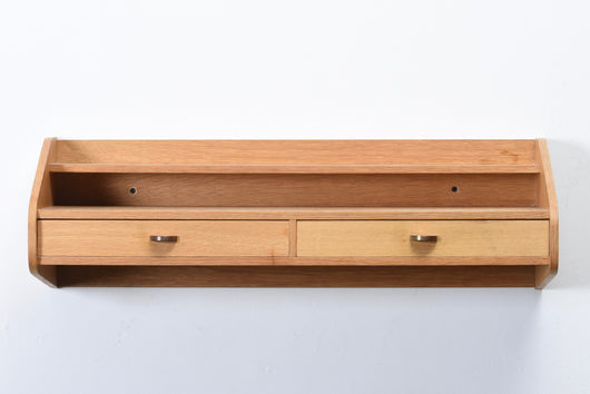 Vintage floating shelf with drawers in oak