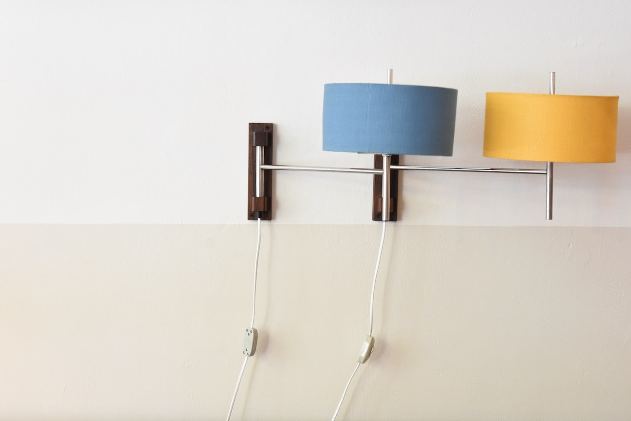 Two available: 1960s rosewood + metal wall lights