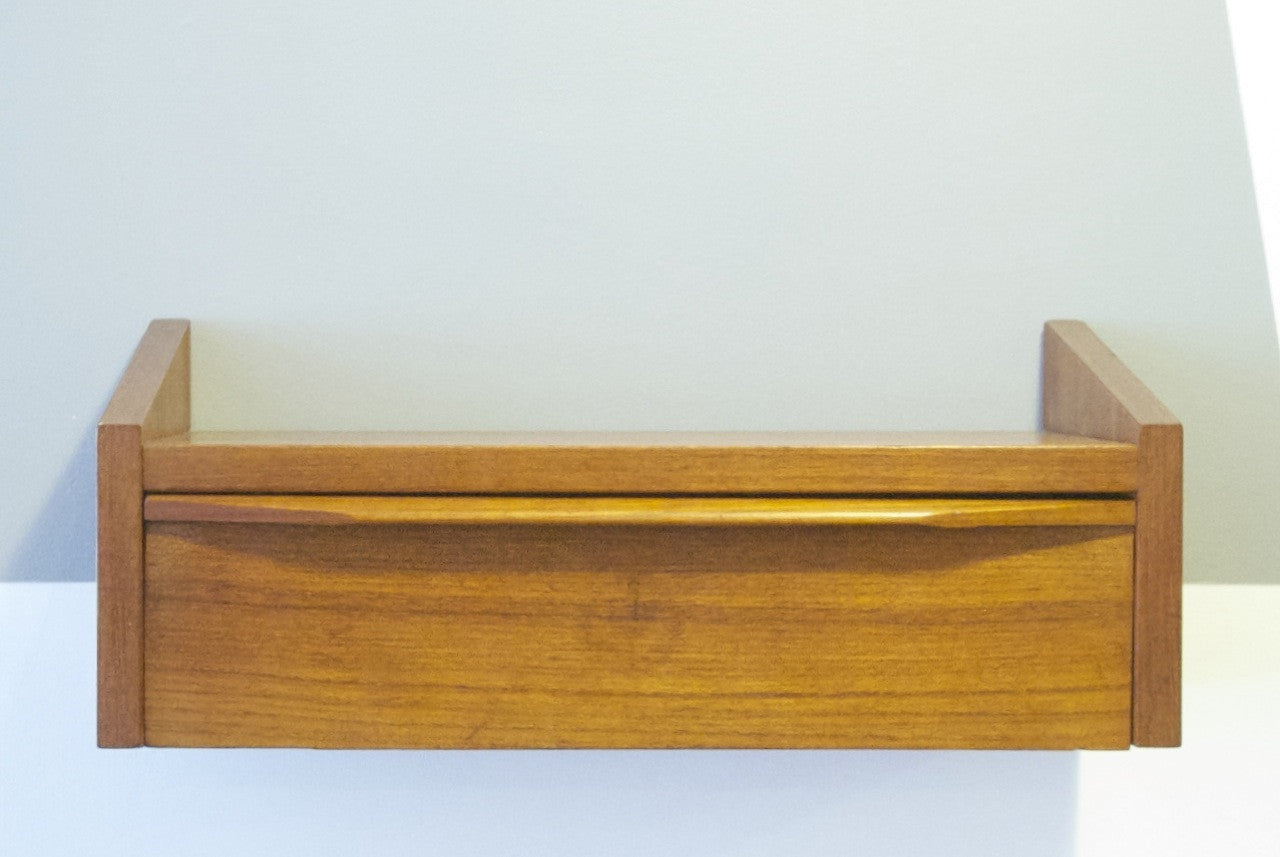 Teak floating drawer