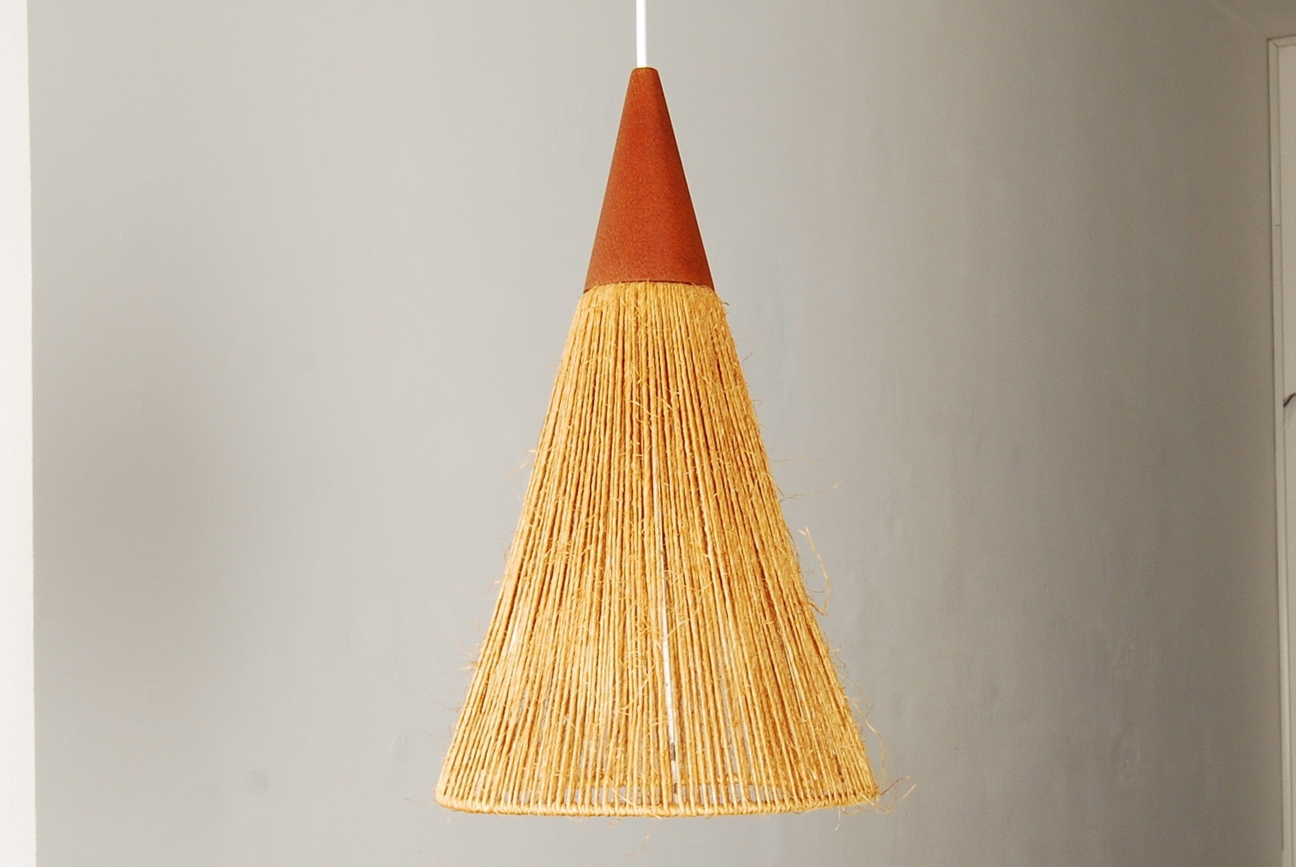 Cord and teak ceiling light