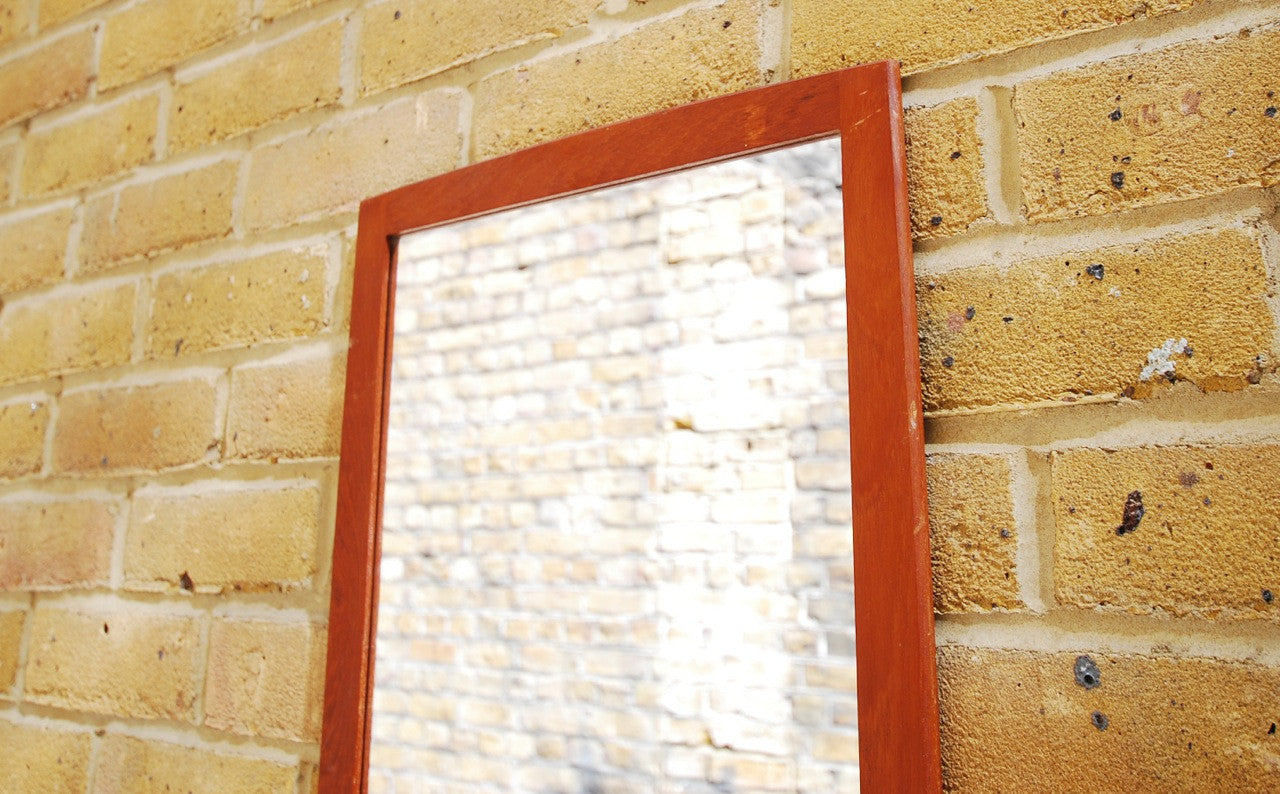 Teak-framed mirror