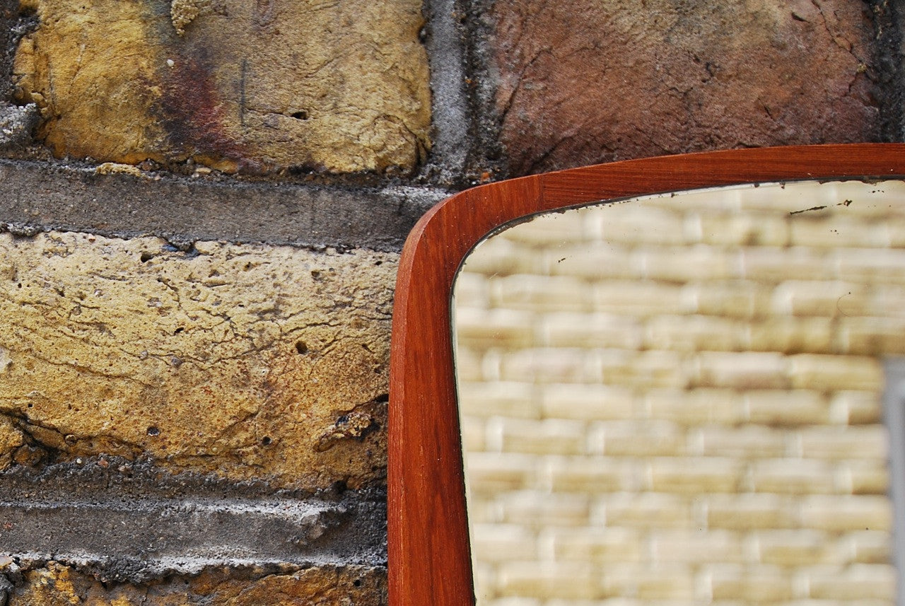Mirror on teak base