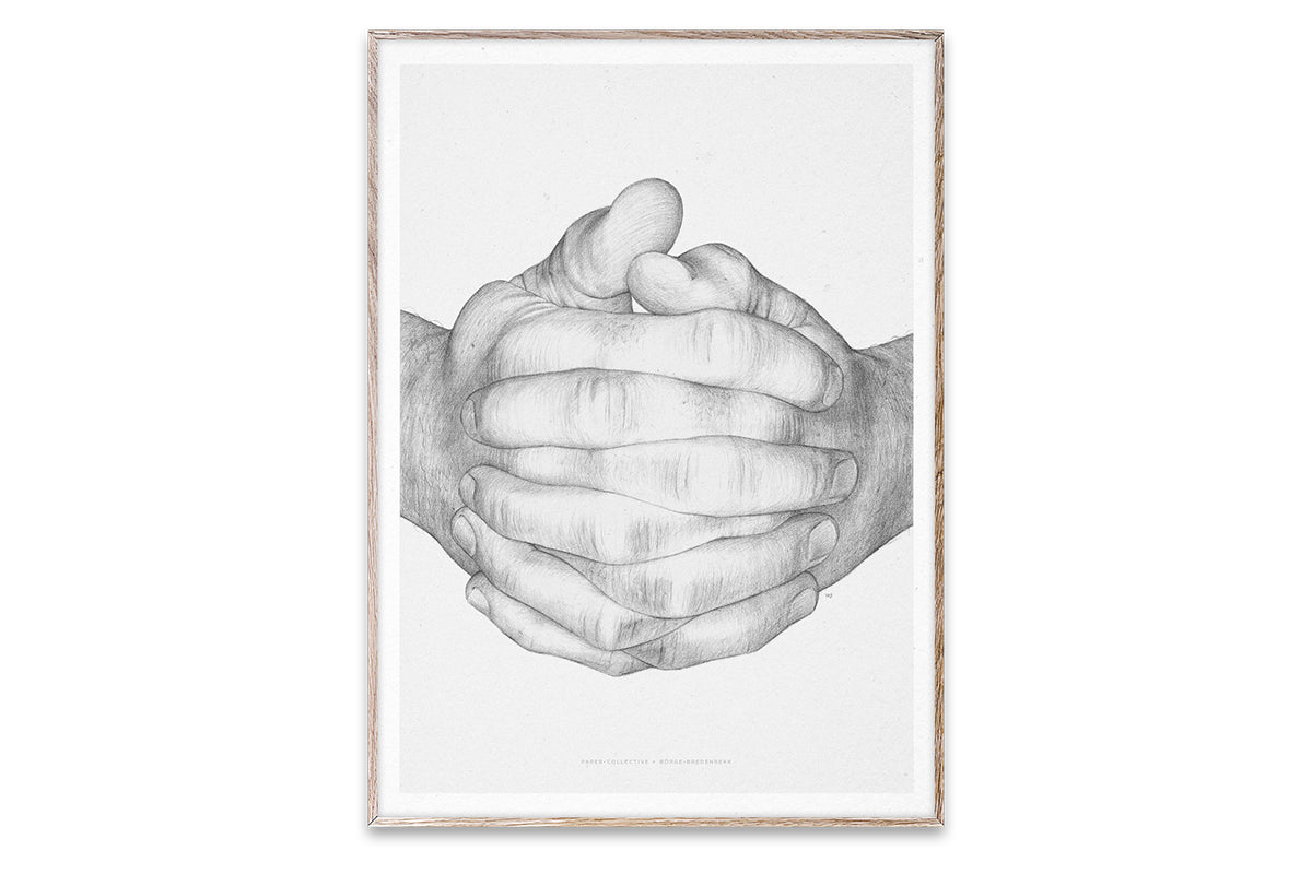 Folded Hands illustration by Børge Bredenbekk - 30 x 40 cm