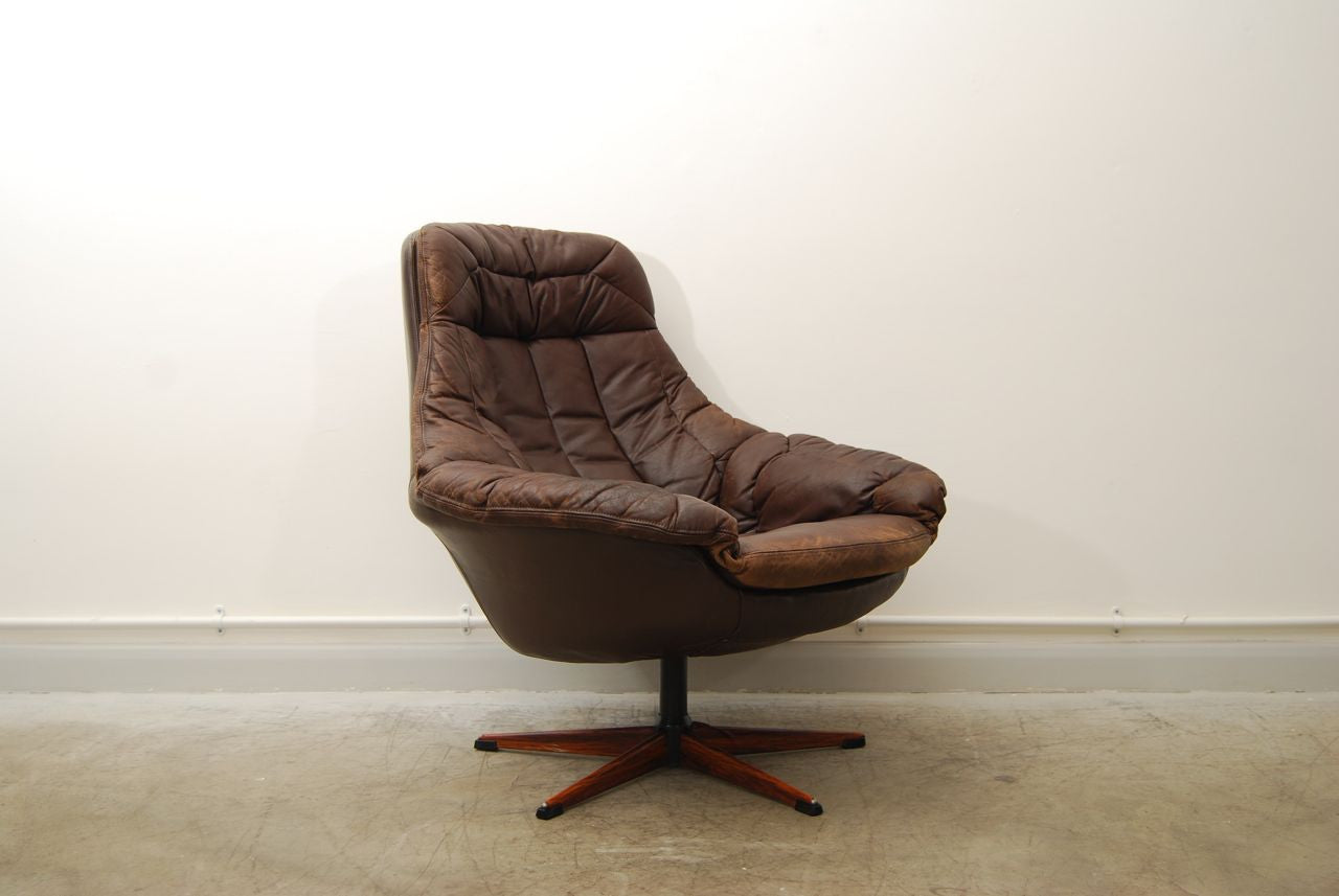 Leather bucket chair by H.W. Klein